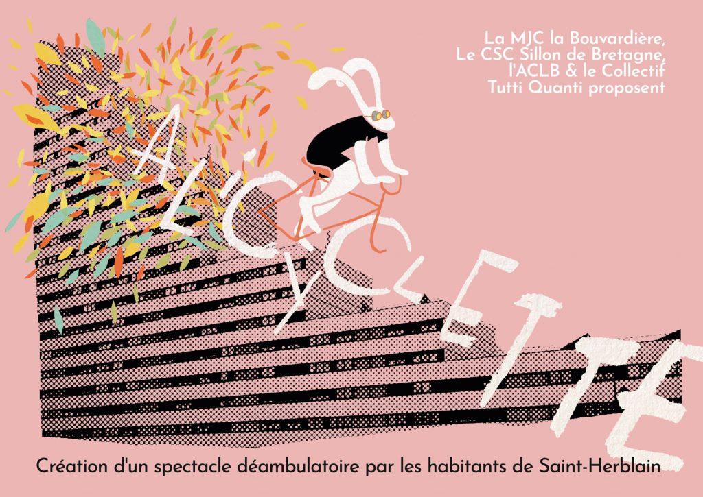 Visuel du projet alicyclette. Un lapin blanc dévale l'immeuble du sillon en diffusant des feuilles colorées.